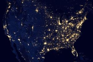 This composite image made available by NASA shows the US's lights at night.
