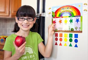 Hannah Robertson shows an interactive game on nutrition called Today I Ate a Rainbow—created by her mother Kia.
