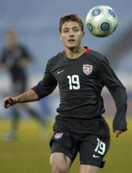 Robbie Rogers eyes the ball during a US soccer match against Slovakia in Bratislava, Slovakia.
