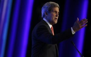 US Secretary of State John Kerry speaks the World Economic Forum on the Middle East and North Africa  in Jordan yesterday.