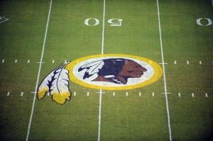 The Redskins logo at midfield.