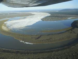 The ice jam on the Yukon River at Bishop Rock is shown in Galena, Alaska.