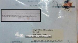 In this image taken from video and provided by WNBC-TV in New York, the envelope that contained the ricin tainted letter mailed to New York City Mayor Michael Bloomberg is shown.