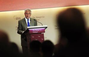 U.S. Defense Secretary Chuck Hagel delivers his keynote address at a summit in Singapore.