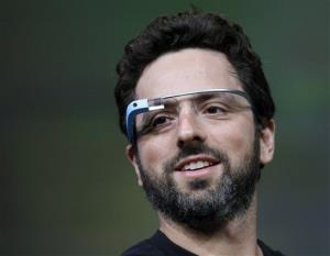 This 2012 file photo shows Google co-founder Sergey Brin demonstrating Google Glass.
