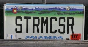 The license plate on the truck of tornado chaser Tim Samaras.