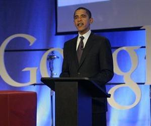 Democratic presidential hopeful Sen. Barack Obama, D-Ill., speaks at Google headquarters in Mountain View, Calif., Wednesday, Nov. 14, 2007.