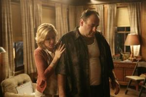 In this file photo, originally released by HBO in 2007, Edie Falco portrays Carmela Soprano and James Gandolfini is Tony Soprano in a scene from the hit HBO dramatic series The Sopranos.