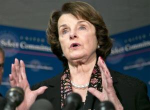 Dianne Feinstein speaks with reporters following a closed-door briefing by intelligence agencies on the Boston Marathon bombing, on Capitol Hill in Washington, Tuesday, April 23, 2013.