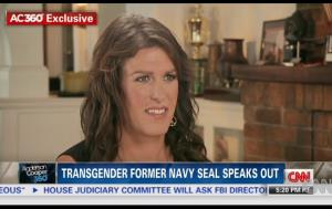 A screen grab from CNN video featuring an interview with Kristin Beck.