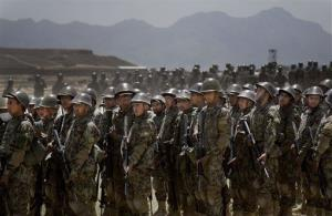 Afghan Army soldiers line up at a training facility in the outskirts of Kabul on May 8.