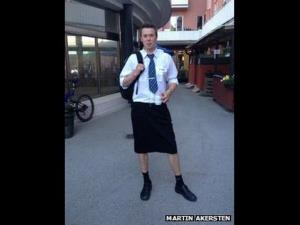 A dozen male train drivers in Sweden have circumvented a ban on shorts by wearing skirts to work in hot weather.