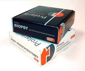 This 2012 photo provided by Myriad Genetics shows packaging for their PROLARIS sample kits for assessing prostate cancer risk.
