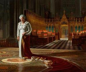 This is an undated handout photo shows the painting, entitled  'The Coronation Theatre, Westminster Abbey:  A Portrait of Her Majesty Queen Elizabeth II, 2012,' in its pre-grafitti state.