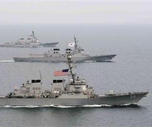 US WARSHIPS CONDUCT EXERCISES ALONGSIDE THEIR SOUTH KOREAN COUNTERPARTS IN THIS FILE PHOTO.