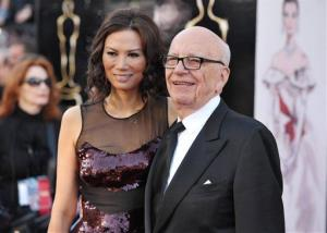 Rupert Murdoch and wife Wendi Deng Murdoch arrive at the Oscars on Feb. 24, 2013, in Los Angeles.