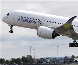 The Airbus A350 takes off on its maiden flight at Blagnac airport near Toulouse, southwestern France, Friday, June 14, 2013.