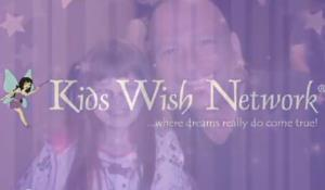 A screenshot from a promotional video for the Kids Wish Network.