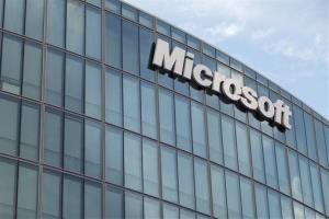 The Microsoft logo is seen on the new French branch office of Microsoft, in Issy-Les-Moulineaux, next to Paris, Tuesday Oct. 6, 2009.