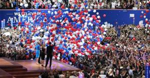 In this Aug. 30, 2012 file photo, Mitt Romney and Paul Ryan take the stage with their wives, Ann Romney and Janna Ryan, at the end of the Republican National Convention.