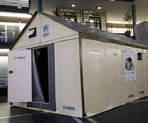 The prototype of the new refugee shelter from the IKEA Foundation.
