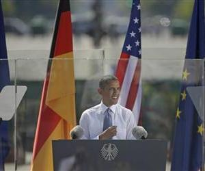President Obama speaks in front of the Brandenburg Gate in Berlin Germany, Wednesday, June 19, 2013.