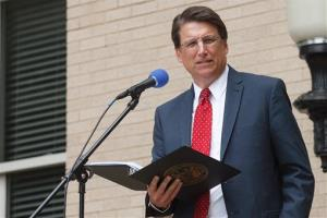 North Carolina Gov. Pat McCrory speaks during a National Day of Prayer observance at the Pitt County courthouse in Greenville, NC, on Thursday, May 2, 2013.