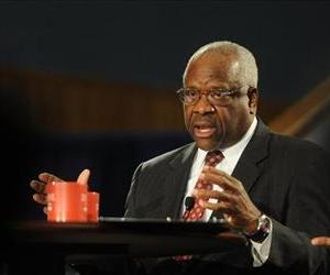 Supreme Court Justice Clarence Thomas addresses the audience during a program at the Duquesne University School of Law, April 9, 2013, in Pittsburgh.