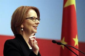 Australian Prime Minister Julia Gillard answers question from guests at China Executive Leadership Academy Pudong (CELAP) in Shanghai, China Monday, April 8, 2013.