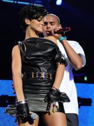 Rihanna and Chris Brown perform at the Z100 Jingle Ball 2008 at Madison Square Garden on Friday, Dec. 12, 2008 in New York.