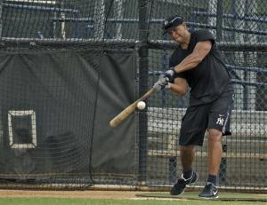 Alex Rodriguez takes batting practice during a workout at the Yankees' minor league complex in Tampa earlier this month.