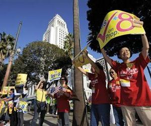 This Nov. 2, 2008 file photo shows supporters of Proposition 8, the state's measure that banned same sex marriages, in front of city hall during a Yes on Prop. 8 rally  in Los Angeles.