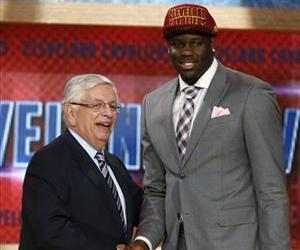 NBA Commissioner David Stern, left, shakes hands with UNLV's Anthony Bennett, who was selected first overall by the Cleveland Cavaliers in the NBA basketball draft, June 27, 2013, in New York.