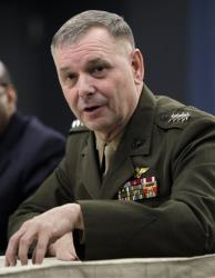 In this Jan. 29, 2011 file photo, then Joint Chiefs Vice Chairman Gen. James E. Cartwright takes part in a media briefing at the Pentagon in Washington.