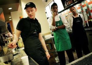 File photo of Starbucks workers.