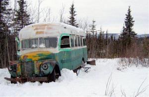 The abandoned bus where Christopher McCandless starved to death in 1992 is seen on the Stampede Road near Healy, Alaska.
