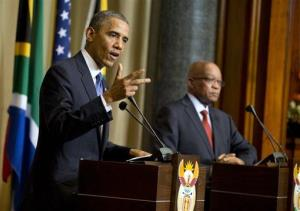 President Obama speaks at a news conference with South African President Jacob Zuma Saturday in Pretoria.
