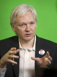 Julian Assange addresses the Oxford Union via video-link from the Ecuadorian Embassy in London.