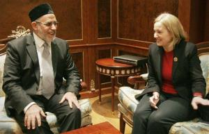 Muslim Brotherhood leader Mohammed Badie, left, meets with US Ambassador to Egypt Anne Patterson in Cairo in 2012.