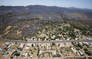 This aerial photo shows Yarnell, Ariz. on Wednesday, July 3, 2013,  in the aftermath of the Yarnell Hill Fire.