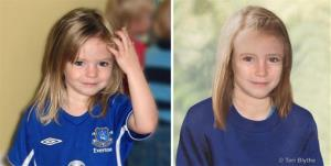 Composite photos showing three-year-old Madeine McCann, left, with a computer generated age progression image of the missing child as she might look now, right, issued Thursday July 4, 2013.