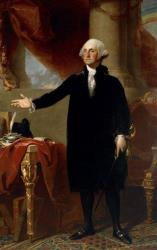 This undated file photo shows Gilbert Stuart's 1796 oil on canvas portrait of George Washington on display at Washington's National Portrait Gallery.
