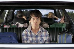 This publicity photo released by Fox Searchlight shows Liam James, front, and, rear from left, Steve Carell and Toni Collette, in a scene from the film, The Way, Way Back.