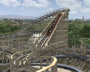 An artist's rendering of the Gold Striker, a roller coaster in Santa Clara. It now has a tunnel to keep the volume down on screaming.