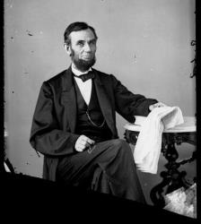 An image made from an 1863 glass plate negative of President Abraham Lincoln.