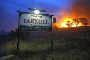 A wildfire burning homes in Yarnell, Arizona.