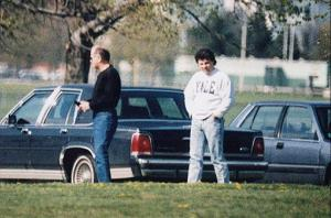 This decades-old surveillance photo shows James Whitey Bulger, left, with his former right-hand man, Kevin Weeks.