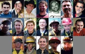 This photo combination made with family photos shows the 19 firefighters.
