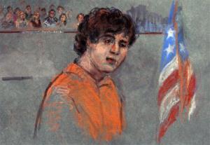 This courtroom sketch depicts Boston Marathon bombing suspect Dzhokhar Tsarnaev during his arraignment.