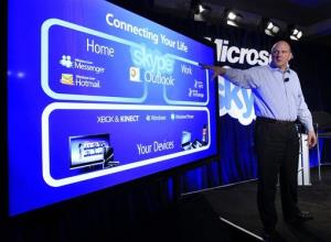 Microsoft CEO Steve Ballmer talks during a news conference in San Francisco Tuesday, May 10, 2011, to announce Microsoft's acquisition of Skype.